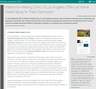 Article - Ketamine Healing Clinic of Los Angeles Offers at Home Nasal Spray to Treat Depression