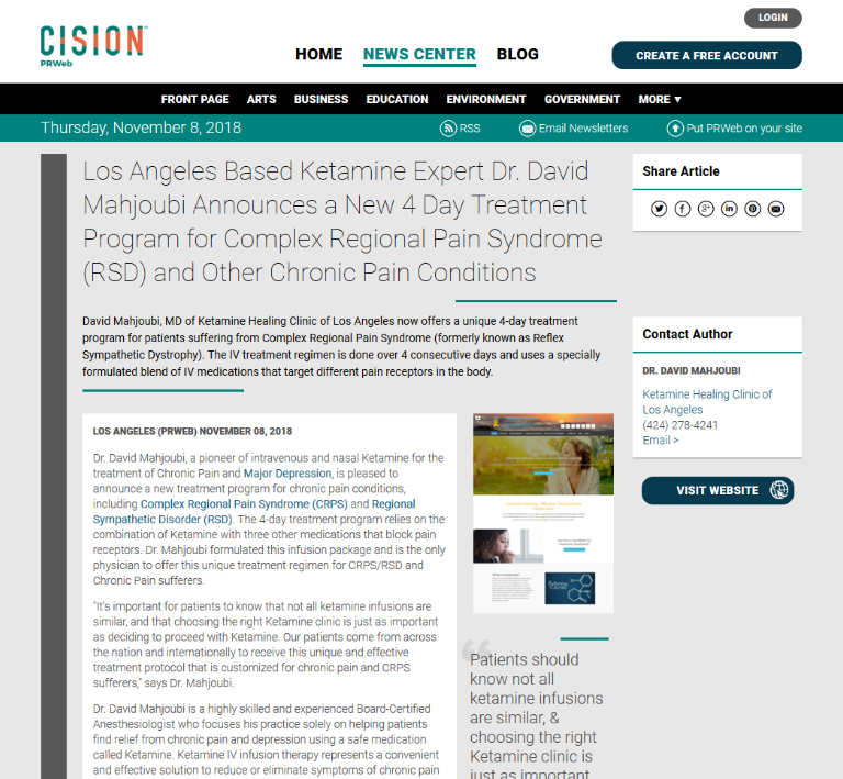 Article - Los Angeles Based Ketamine Expert Dr. David Mahjoubi Announces a New 4 Day Treatment Program for Complex Regional Pain Syndrome (RSD) and Other Chronic Pain Conditions