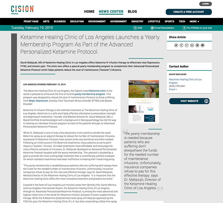 Screenshot of an article: Ketamine Healing Clinic of Los Angeles Launches a Yearly Membership Program As Part of the Advanced Personalized Ketamine Protocol