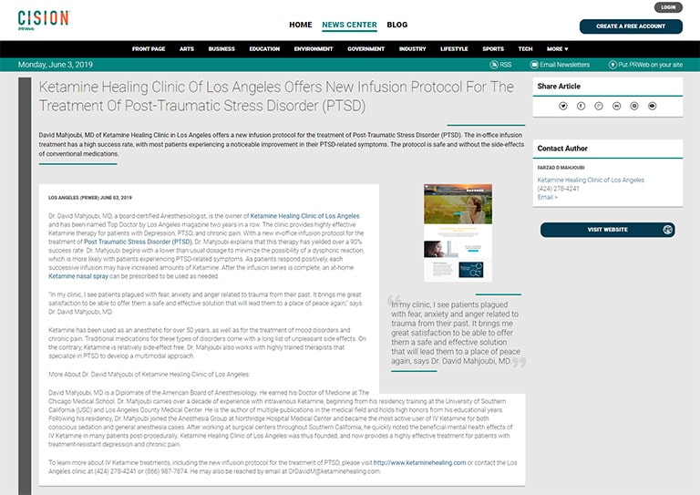 Screenshot of an article: Ketamine Healing Clinic Of Los Angeles Offers New Infusion Protocol For The Treatment Of Post-Traumatic Stress Disorder (PTSD)