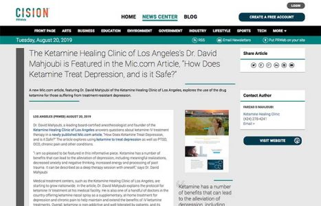 "Screenshot of article - The Ketamine Healing Clinic of Los Angeles's Dr. David Mahjoubi is Featured in the Mic.com Article, ""How Does Ketamine Treat Depression, and is it Safe?"""