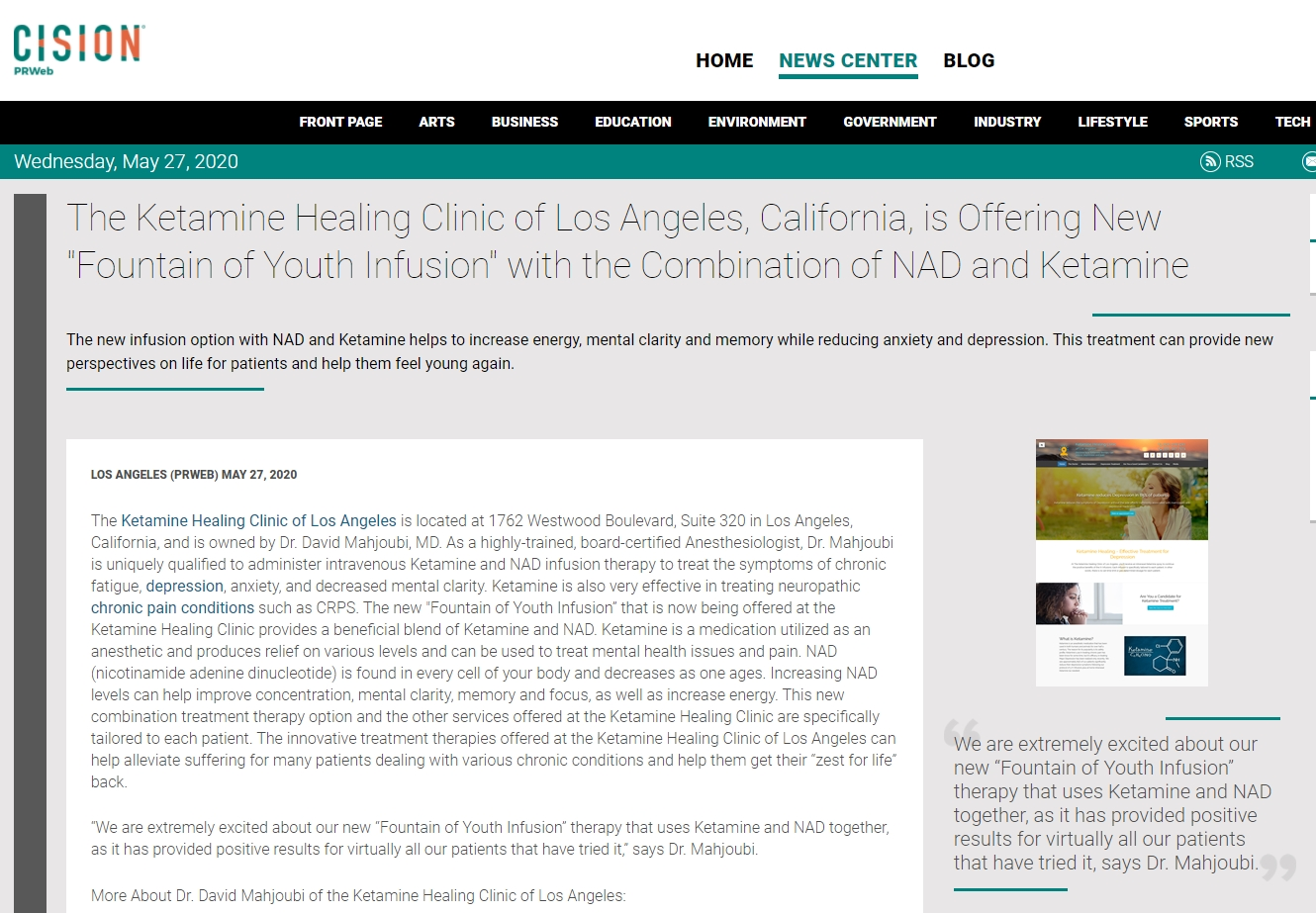 Screenshot of an article - The Ketamine Healing Clinic of Los Angeles, California, is Offering New Fountain of Youth Infusion with the Combination of NAD and Ketamine