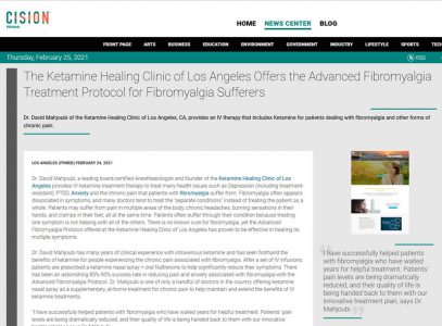 Screenshot of an article - The Ketamine Healing Clinic of Los Angeles Offers the Advanced Fibromyalgia Treatment Protocol for Fibromyalgia Sufferers